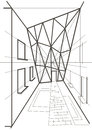 Architectural linear sketch of a building