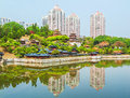The architectural miniature landscape lakeside this photo was taken in splendid china scenic spot shenzhen city china it is Royalty Free Stock Images