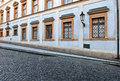 Architectural perspective commercial building and cobblestone street Stock Image
