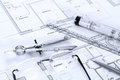 Architectural plans with drawing equipment Stock Photo