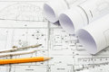 Architectural plans pencil and ruler Royalty Free Stock Images