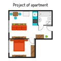 Architectural project of apartment with furniture. Image for banners, web sites, designs Royalty Free Stock Photo