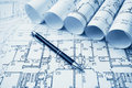 Architectural project, blueprints, blueprin Royalty Free Stock Photo