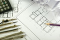 Architectural project, blueprints and divider compass on plans Engineering tools view from the top. Cop Royalty Free Stock Photo