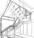 Architectural sketch drawing Royalty Free Stock Photo