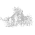 Architectural sketch ruined building of old city pencil on paper retro style Royalty Free Stock Photos