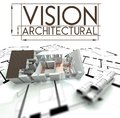 Architectural vision with project of house on blueprints sign Stock Photo