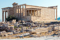Architecture of ancient temple Erechteion in Acropolis, Athens, Greece Royalty Free Stock Photo