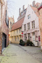 Architecture of bicked street of Brugge town in Begium Royalty Free Stock Photo