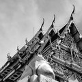 Black and white shot: Buddhist temple Royalty Free Stock Photo