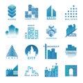 Architecture building skyscraper construction builder developer agency logo badge real estate vector illustration