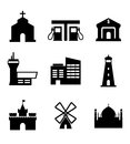 Architecture and buildings icons including a church garage bank airport commercial lighthouse castle windmill landmarks vector Royalty Free Stock Photo