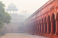 Architecture of charbagh or mughal garden in agra india dividing wall formal front taj mahal morning mist Royalty Free Stock Photography