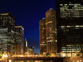 Architecture on the Chicago River at Night Stock Photo