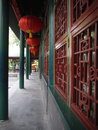 Architecture of chinese corridor it is a image with red lantern hang on the ceiling Royalty Free Stock Photography