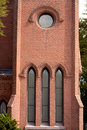 Architecture church windows detail of with elaborate stonework brickwork Stock Photo