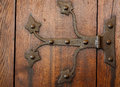 Architecture. Closeup of wooden door with rivets as background Royalty Free Stock Photo