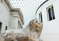 Architecture colossal marble lion greek sculpture great hall british museum visitors tourists popular cultural visitor attraction Stock Photos
