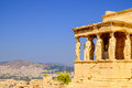 Architecture detail of ancient temple Erechteion in Acropolis Royalty Free Stock Photo