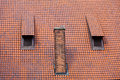 Architecture detail chimney and garret red tiles roof tile with windows old town gdansk poland Stock Photo