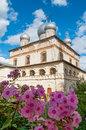 Architecture facade view of old Orthodox landmark - cathedral of Our Lady of the Sign in Veliky Novgorod, Russia. Royalty Free Stock Photo