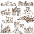 Architecture famous places buildings and around the world set no white collection of an hand drawn illustrations description full Stock Photos