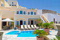 Architecture of Fira town on Santorini island Stock Photos