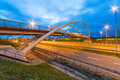 Architecture of highway viaduct at night in gdansk poland Royalty Free Stock Photo