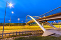 Architecture of highway viaduct at night in gdansk poland Stock Photography