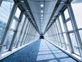 Architecture interior walkway glass wall Modern building perspective Royalty Free Stock Photo