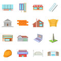 Architecture items icons set, cartoon style