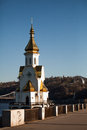 Architecture of kiev church on the banks the river the embankment in Royalty Free Stock Photography
