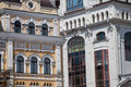 Architecture of kiev close up the facade the building in the historic part Royalty Free Stock Photo