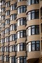 Architecture of kiev facade an apartment house a lot symmetric windows Stock Photo