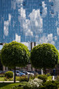 Architecture of kiev green trees in the background mirror building Royalty Free Stock Images