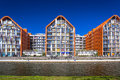 Architecture of modern apartments at Motlawa river in Gdansk Royalty Free Stock Photo