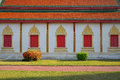 Architecture of northern thailand in temple buddhism at wat phra that hariphunchai lamphun Royalty Free Stock Photography