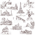 Architecture and places collections of hand drawn illustrations isolated on white famous buildings around the world Royalty Free Stock Photo
