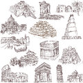 Architecture and places collections of hand drawn illustrations isolated on white famous buildings around the world Stock Images