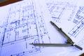 Architecture plan work orange achitecture plain documents Stock Photos