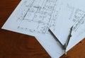 Architecture plan work orange achitecture plain documents Royalty Free Stock Photo