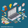Architecture planning, interior project, architect workplace vector illustration