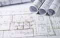 Architecture plans and sketch of house project Royalty Free Stock Photography