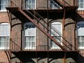 Architecture: rusty steel fire escape Royalty Free Stock Photo