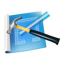 Architecture sketch with ruler and hammer isolated Stock Photo