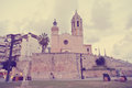 Architecture of the Spanish seaside resort Sitges; retro Instagram style Royalty Free Stock Photo