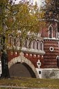 Architecture of Tsaritsyno park in Moscow, Russia. Old bridge. Royalty Free Stock Photo