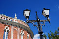 Architecture of tsaritsyno park in moscow vintage style street light july popular touristic landmark Royalty Free Stock Images