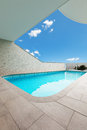 Architecture whit pool beautiful new apartment building outdoor view Royalty Free Stock Photo
