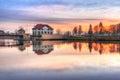 Architettura del ponte sul canale di elblag al tramonto Fotografia Stock Libera da Diritti